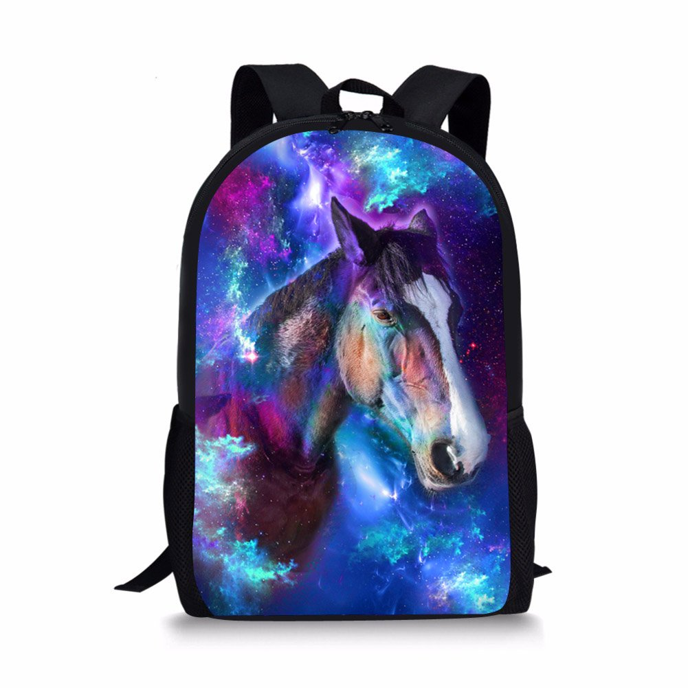 bigcardesigns Galaxy Animalバックパックfor Kids学校ブックバッグTeenagers B073XKNCLM 馬