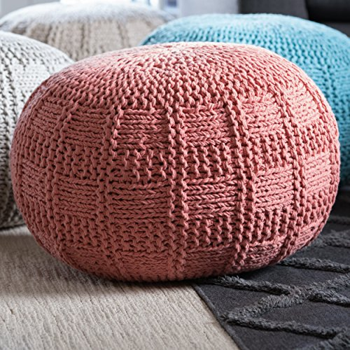 - GDFStudio 299695 Valentine Hand Knit Fabric Pouf (Coral),