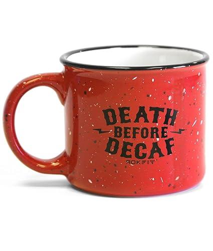 amazon com rokfit death before decaf coffee mug red coffee cups