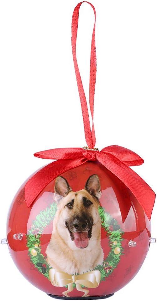 "Poodle Dog Ball Ornament Blinking Light Up 3/"" Decoupage Christmas Gift"