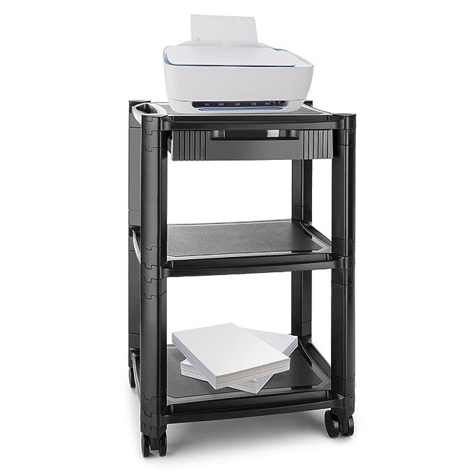 auna P-Stand Mesa con Ruedas para Impresora • Mueble para Oficina • Cajones • Guía de Cables • 3 bandejas de Altura Regulable • Móvil por Ruedas con Frenos ...