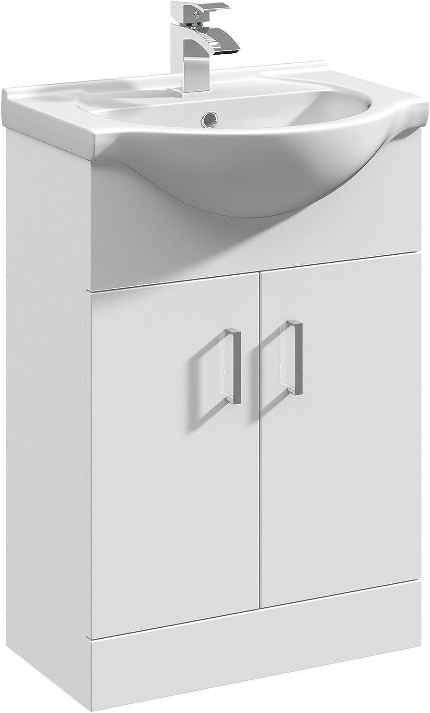 Mayford 10mm Wide Floor Standing Vanity Unit with Sink Basin Modern  Bathroom Cabinet Storage Furniture - Gloss White Finish