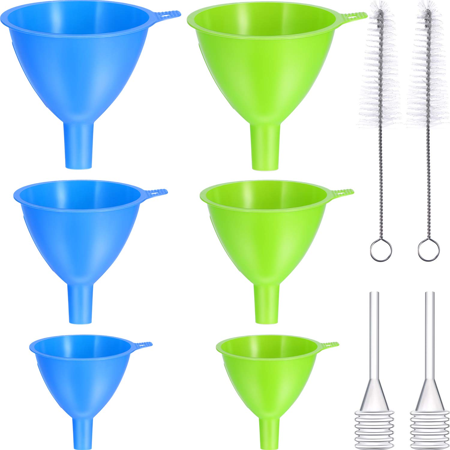 6 Pieces Kitchen Funnel Plastic Filter Funnel for Liquid Plastic Funnel Set with 2 Pieces Cleaning Brush and 2 Pieces Dropper for Liquid Transfer Tatuo