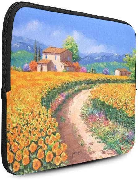 Golden Flowers And Country Roads Oil Painting 17 Inch Macbook Pro Sleeve 17 Inch Laptop Sleeve Uitrabook Sleeve Case Macbook Protective Bag 17