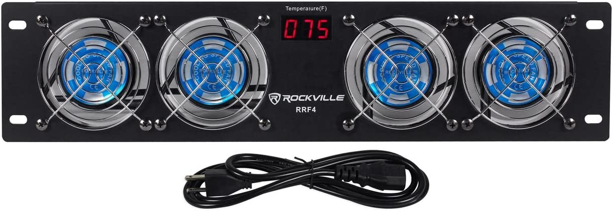 "Rockville RRF4 19"" Rack Mount 4 Fan Cooling System with LED Temperature Display"
