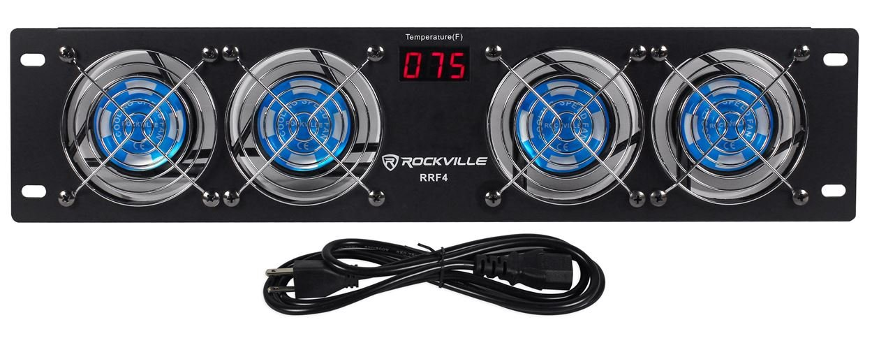 Rockville RRF4 19'' Rack Mount 4 Fan Cooling System with LED Temperature Display