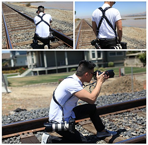 Clydesdale Pro-Dual Handmade Leather Camera Harness, Sling & Strap RL Handcrafts. DLSR, Mirrorless, Point & Shoot Made in The USA (Black, X-Large) by Republic Leather Company (Image #1)