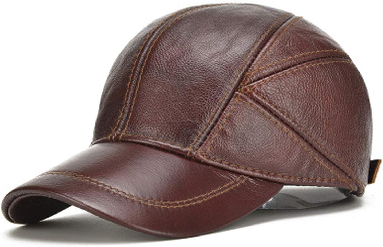 Men Baseball Cap Casual Cowhide eather Baseball Hat Autumn Real Cowhide Leather Ear Protection Cap