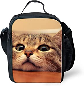HUGSIDEA Fun Pet Cat Design Lunch Bags for Kids Fashion Women Thermal Food Boxes