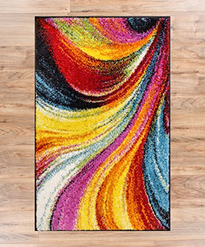 Blooms Multi Color Geometric Brush Stroke Area Rug Shed