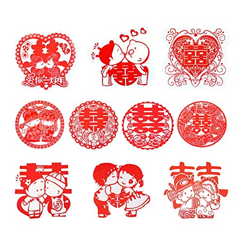 Recommended Good quality Wedding hi Word electrostatic Stickers Wedding Room Decoration Wedding Layout hi Word Stickers Glass Cartoon Stickers Window Flower Ten Styles [20 Pack]