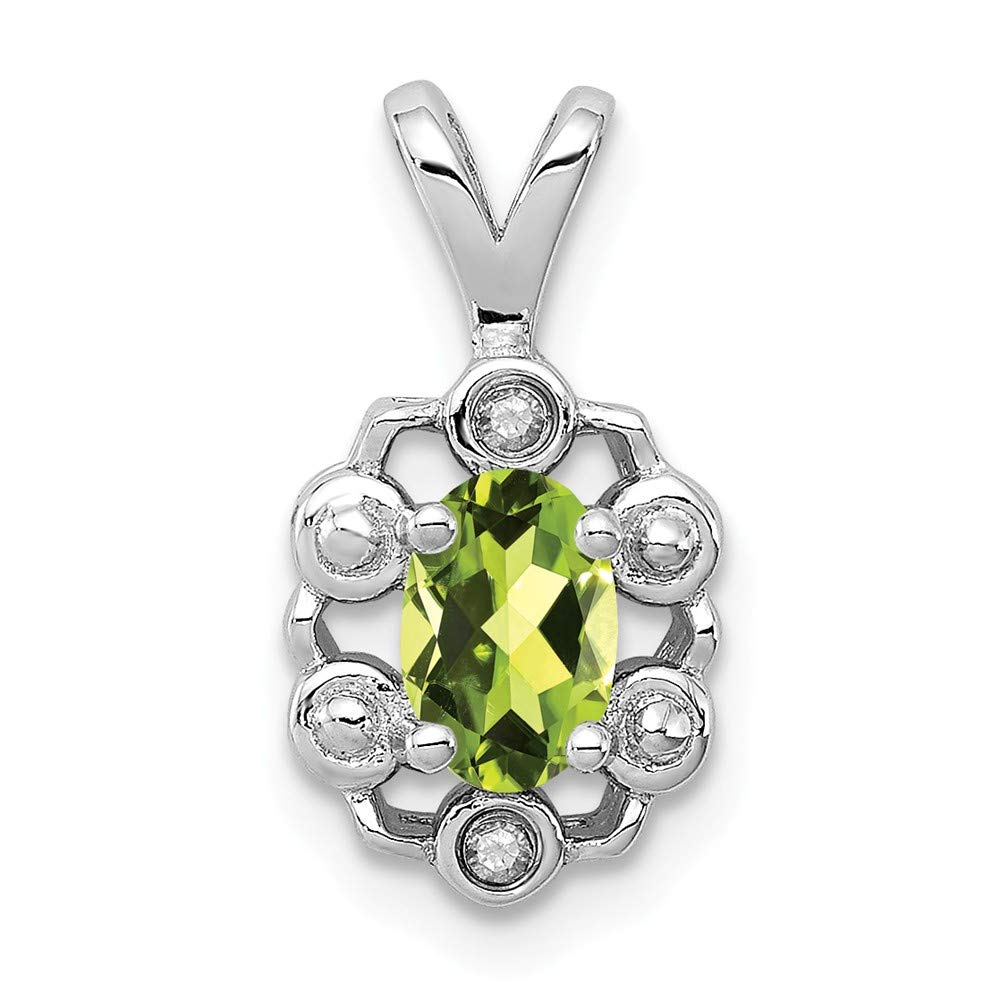 925 Sterling Silver Green Peridot Diamond Pendant Charm Necklace Set Birthstone August Fine Jewelry Gifts For Women For Her