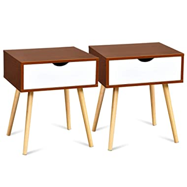 Giantex Nightstand Set of 2 W/Storage Drawer and Wooden Leg Accent Elegant Style for Living Room Bedroom Home Furniture Side Sofa End Table (2)