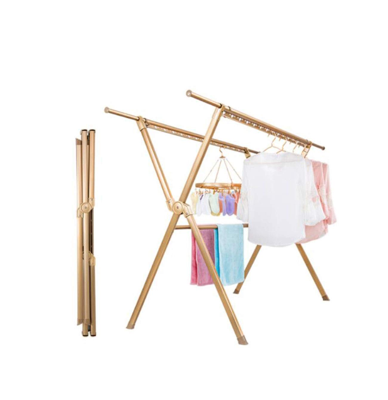 HYZLYJ Drying Racks, Floor-Standing Cool Racks, Folding Racks, X-Type Clothes Rails, Telescopic Drying Quilts, Suitable for Indoor and Outdoor Use