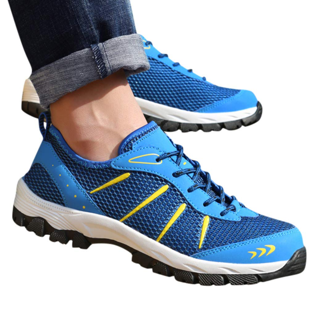 Mysky Fashion Men Popular Casual Mesh Breathable Outdoor Non-Slip Comfortable Walking Shoes Sports Hiking Shoes Blue by Mysky (Image #5)
