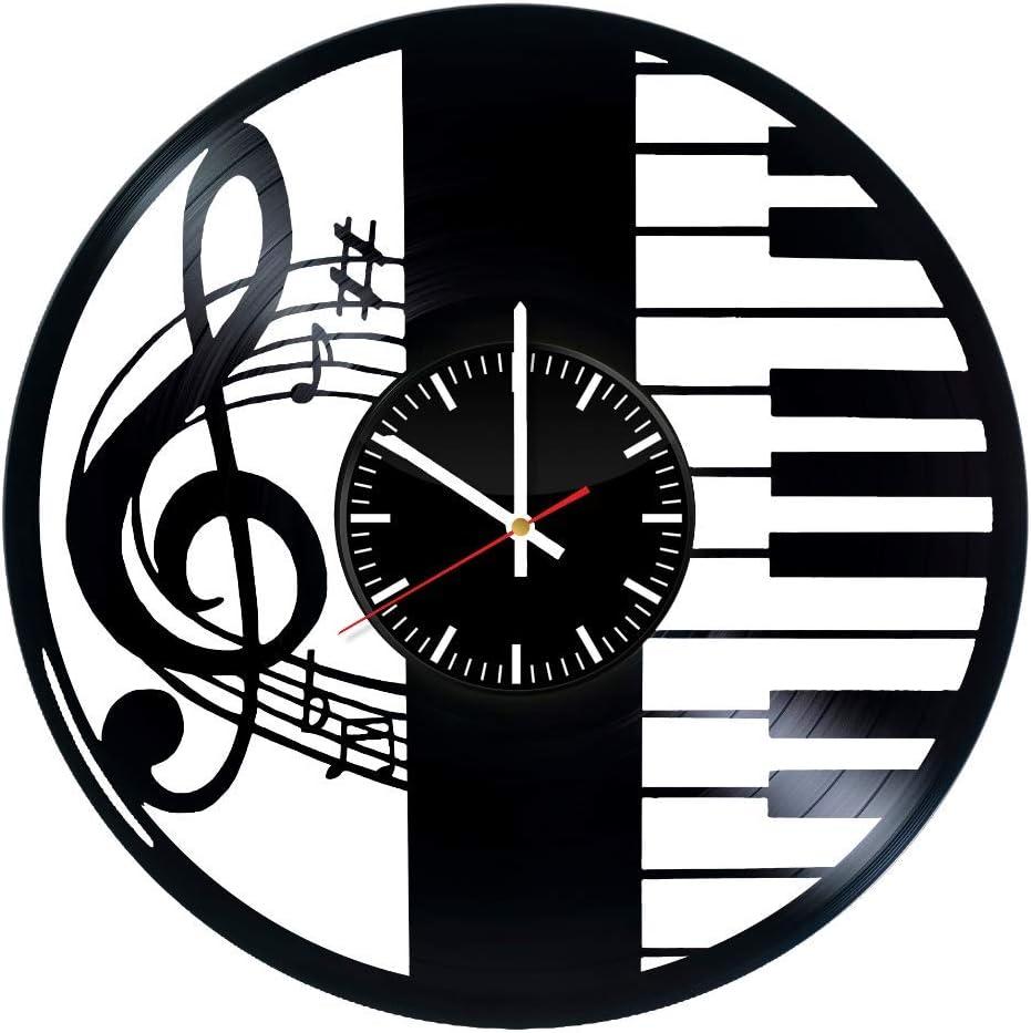 TikTok Studio Music Notes Vinyl Wall Clock, Piano Wall Art, Music Wall Decor, Piano Gift for Music Lovers, Music Record Clock