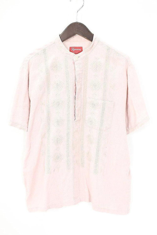(シュプリーム) SUPREME 【17SS】【Embroidered Band Collar S/S shirts】コットンリネンキューバ半袖シャツ(S/ピンク) 中古 B07FMJH591  -