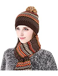 Winter Knit Hat and Scarf Set Warm Beanie Hat Cold Weather Cap Scarf Set Gift For Men Women