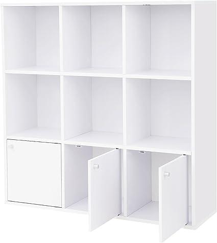 VASAGLE Librería de Madera, Biblioteca para el Hogar u Oficina, 6 Cubos estantes, Estantería para DVD con 3 cajones Inferiores, Blanco LBC33WT