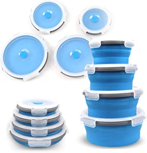 Silicone Collapsible Food Storage Container, Meal Prep Round Lunch Box, Leftover Meal Box For Kitchen, BPA Free, Microwave, Dishwasher and Freezer Safe