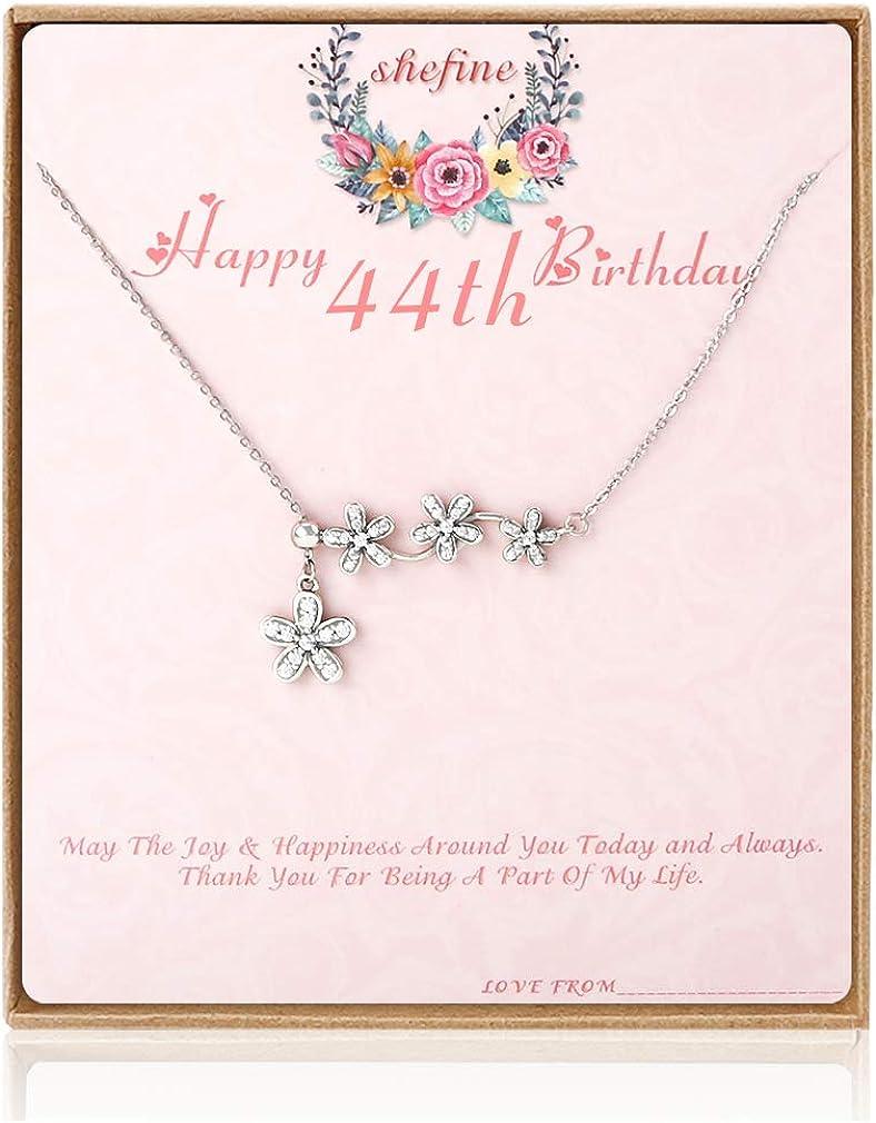 shefine - Gargantilla de plata de ley 925 para mujer, regalo de cumpleaños de 1975 para mujeres, 44 años de edad, regalo para mujer