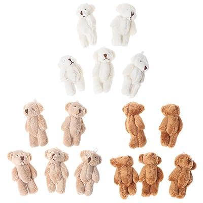 5 piezas Kawaii pequeños osos de peluche suave juguetes perlas de terciopelo muñecas regalos Mini oso de peluche marrón: Hogar
