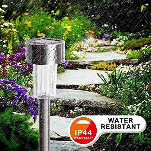 LAPTOM Solar Pathway Lights - Waterproof Outdoor Garden Sunlight Powered Lights Landscape Light for Lawn//Patio//Yard//Walkway//Driveway 12pack Bright White Stainless Steel 004