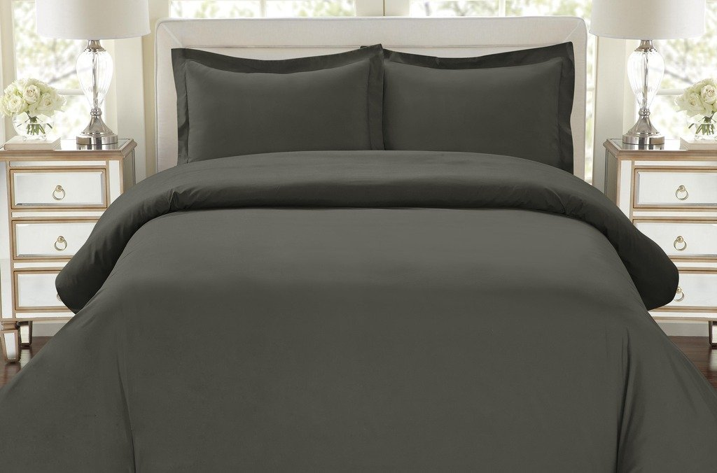 Egyptian Quality Duvet Cover Set Full Queen Size, 3pc Luxury Soft, Queen Gray