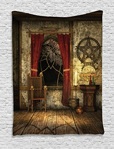 Ambesonne Gothic House Decor Tapestry Wall Hanging, Pentagram Symbol in Candlelight Red Curtains in Mystical Medieval Chamber Spiritual, Bedroom Living Room Dorm Decor, 60 W x 80 L inches, Brown