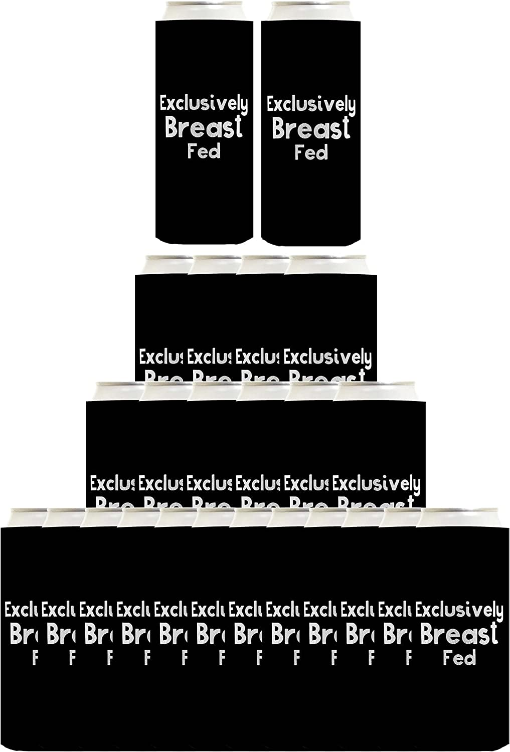 Breastfeeding Gifts Exclusively Breast Fed 24-Pack Ultra Slim Can Coolies Black