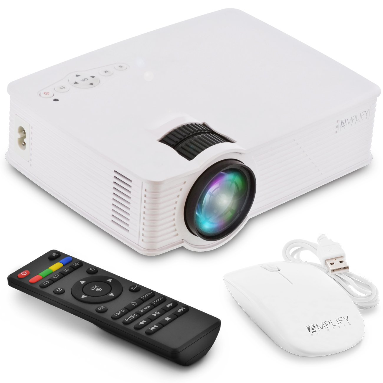 Aduro Smart LED WiFi Video Projector, Built-in Android OS Apps, Wireless Full 1080P HD Portable Home Entertainment Cinema Theater System, Remote + Mouse Included - Stream Directly to Projector