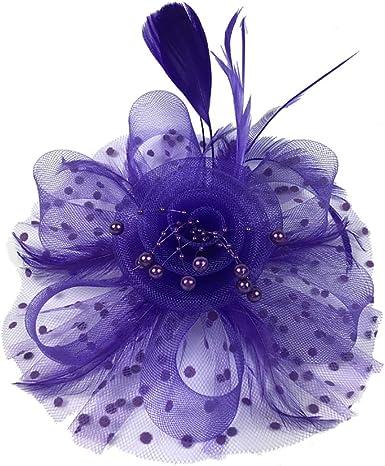 Purple mini  hat flowers alice band WEDDING RACES HAIR  fascinator