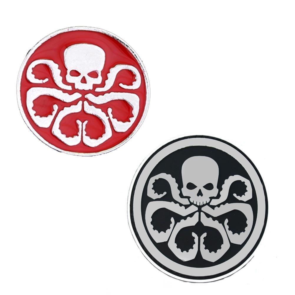 Fashion Jewelry ~ Small Hydra Skull Octopus Avengers Brooch Lapel Pin Set of 2