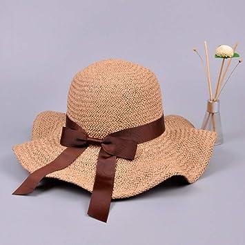 JJJRMP Sombrero De Sol De Paja De Rafia para Mujer con ...