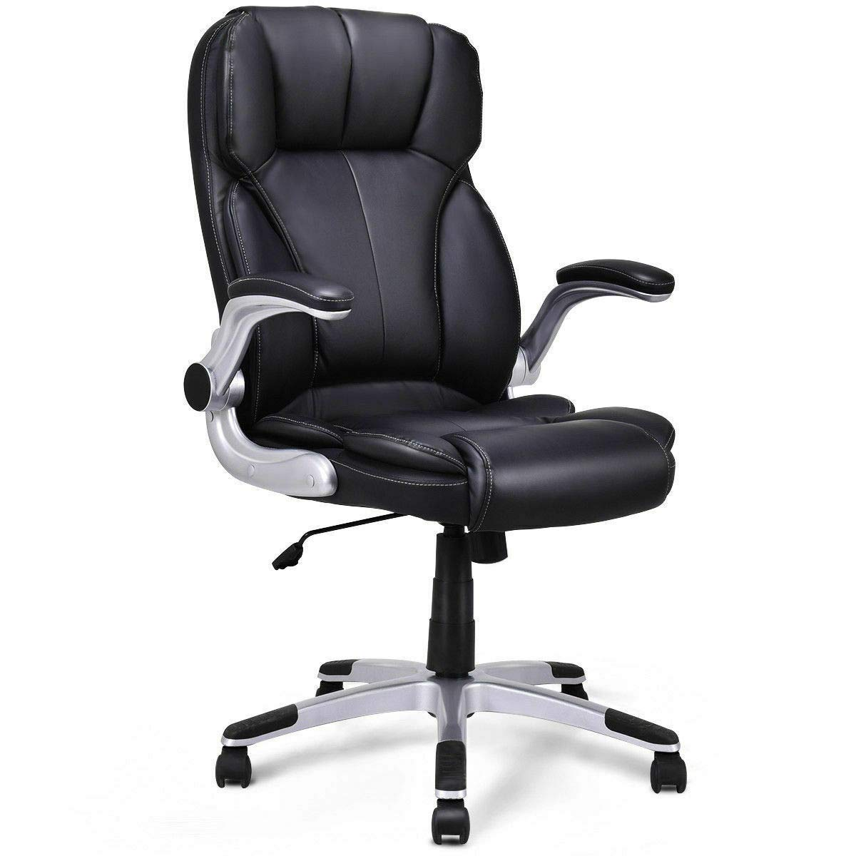 Seleq Black PU Leather High Back Desk Chair with Lifting Armrests for Office