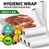 6x Vacuum Food Sealer Bags Roll Saver Storage Seal Heat Commercial 6m 20cm Wide