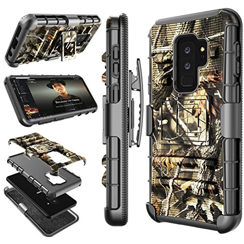Galaxy S9 Plus Case, Samsung Galaxy S9 Plus Holster Belt, Tekcoo [Hoplite] Shock Absorbing [Camouflage] Secure Locking Clip Defender Heavy Full Body Kickstand Carrying Armor Camo Case Cover