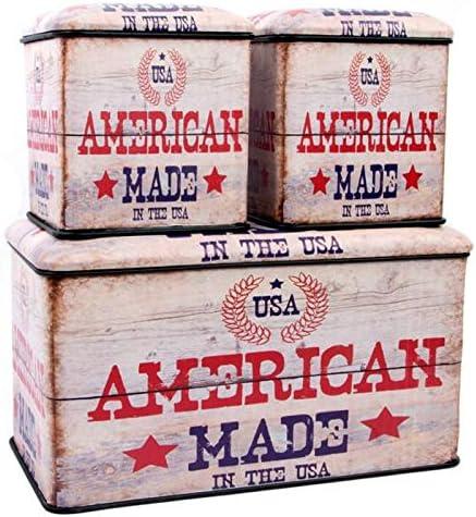 Indhouse - Caja de almacenaje de Estilo Industrial Vintage en Metal - Set de 3 …: Amazon.es: Hogar