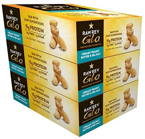 Raw Rev Glo Vegan Gluten-Free Protein Bars, Creamy Peanut Butter & Sea Salt, 12 Count Box of 1.6 Ounce Bars (3 Boxes) 15g Protein, 2g Sugar, 14g Fiber, Keto-Friendly, Vegan, Plant-Based Protein