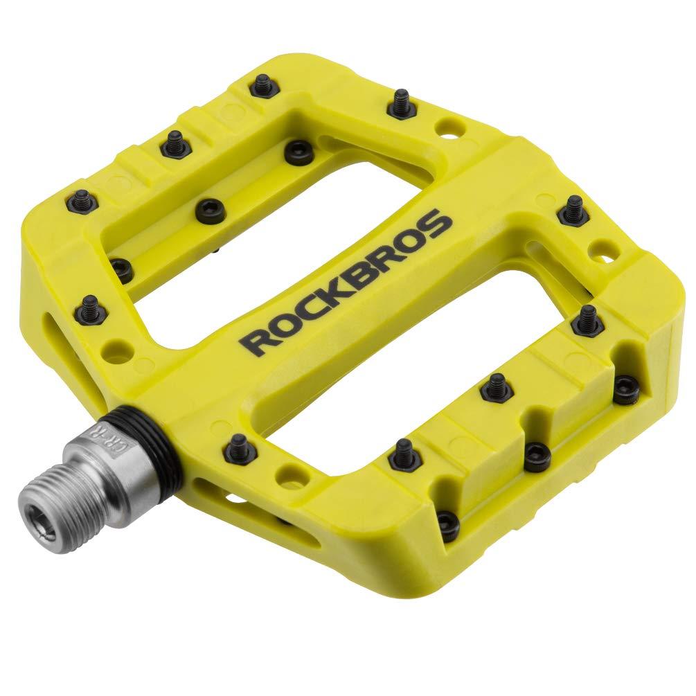 RockBros Lightweight Mountain Bike Pedals Nylon Fiber Bicycle Platform Pedals for BMX MTB 9/16'' (Green) by ROCK BROS