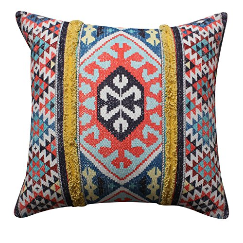 ThymeHome Chic Kilim Printed Hand Woven Dhurri Floor Pillow :- 100% Cotton Floor Pillow of 24x 24 Inch Multicolor ()