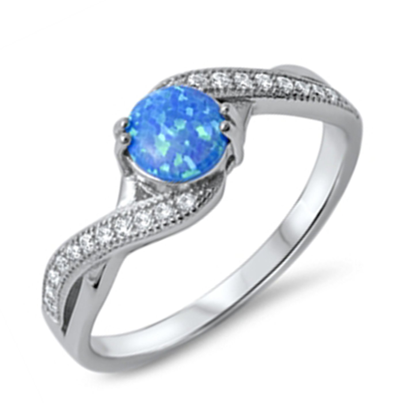 Blue Opal Lab Created Wedding Bands Womens Engagement Rings Sterling Silver CZ Sizes 4-10