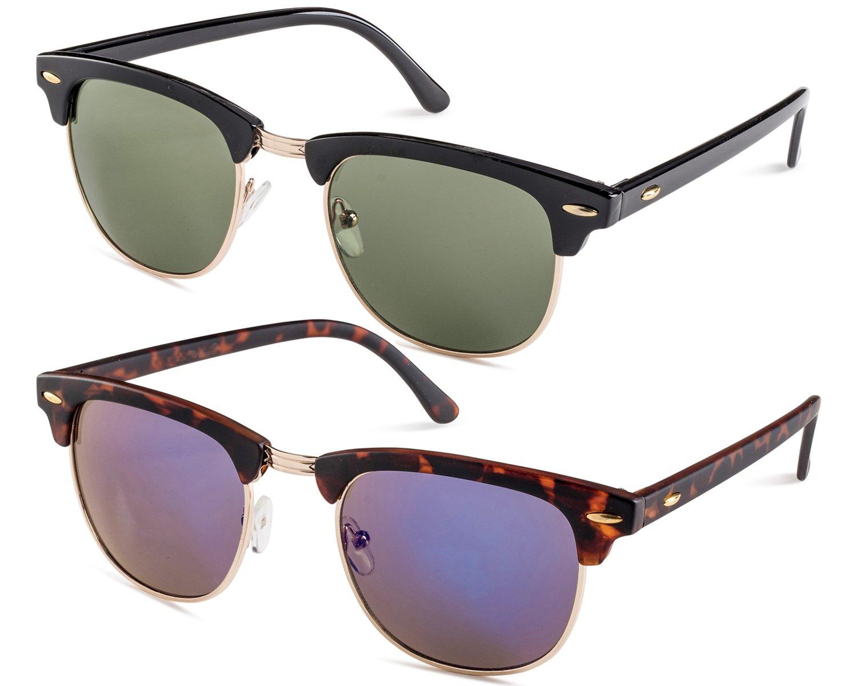 Shiny Black Frame/Green Lens and Matte Havana Frame/Blue Flash Mirror Lens Set