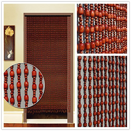 - Faraway Chinese Wooden Bead Curtains door window curtain, Feng Shui Curtain, Size 80x180cm 26 String