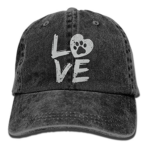 Men's Or Women's Love Paw Print In Heart Denim Jeanet Baseball Hat Adjustable Hip-hop Cap