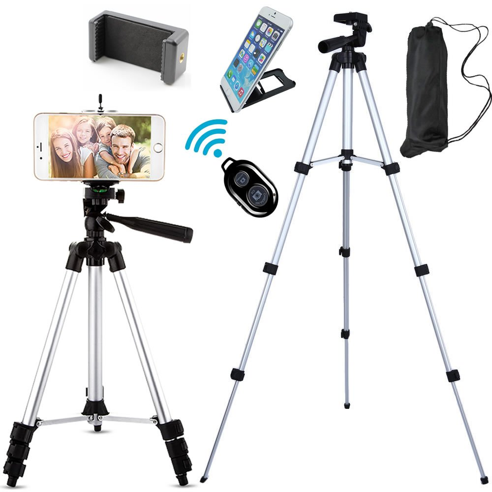 Jiraiya Aluminum Professional Lightweight Camera Tripod for iPhone, Cellphone,Gopro Hero,Cameras,Camcorder with Cellphone Holder Clip and Remote Shutter-43''/Silver
