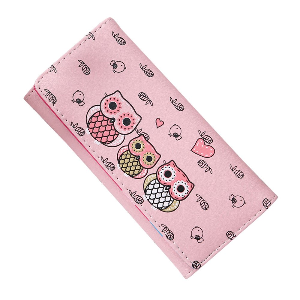 ABASSKY Women Simple Retro Owl Printing Long Wallet Coin Purse Card Holders Handbag (Pink)