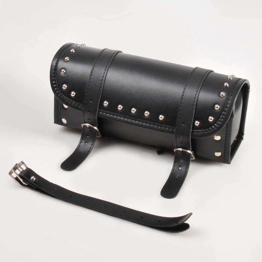 Black PU Leather Saddlebag Motorcycle Tool Pouch Motorcylce Fork Bag