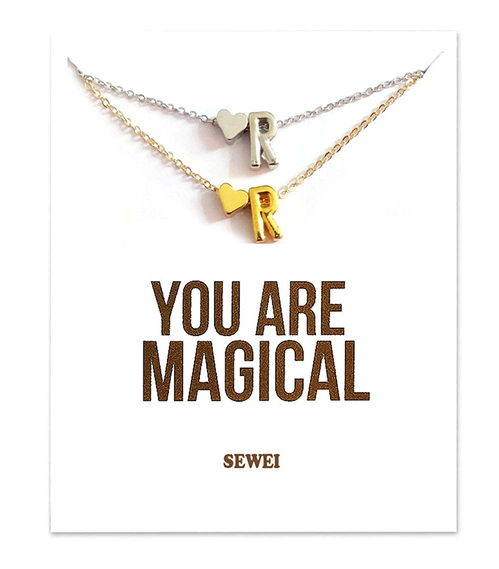Alphabet 26 A-Z SEWEI Letter Necklace with Message Card Gift Card for Women 2 Packs from