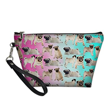 INSTANTARTS Pug Dog Print Pu Leather Makeup Pouch Women Travel Cosmetic Bag